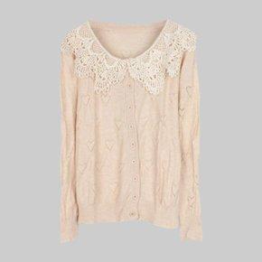 針織線衫全棉針織小外套鏤空 價僅有一件要買要快