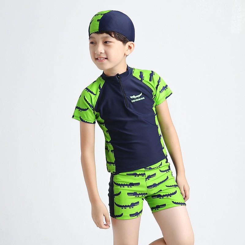 兒童泳衣上衣褲子帽子防曬分體平角褲泳衣鱷魚泳衣