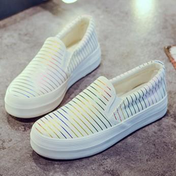 ~A 6786 白36 ~ 百搭低筒條紋厚底鬆糕底懶人鞋休閒鞋帆布鞋女鞋