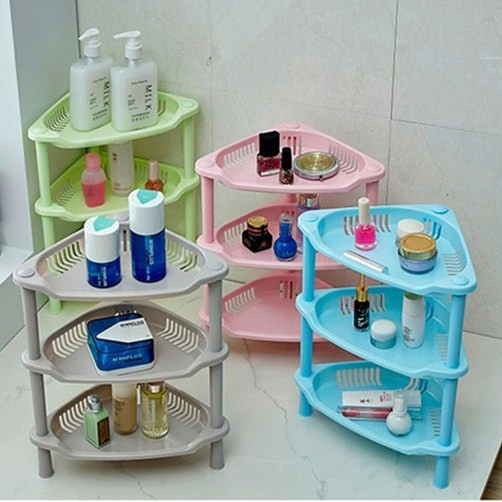 三層塑料儲物架洗手間浴室三角形置物架衛生間廚房收納架角落架
