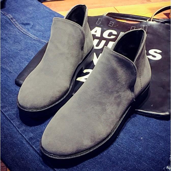 精靈靴peace 衣著館韓款側V 仿麂皮踝靴短靴精靈靴,灰色,KS 1003 14