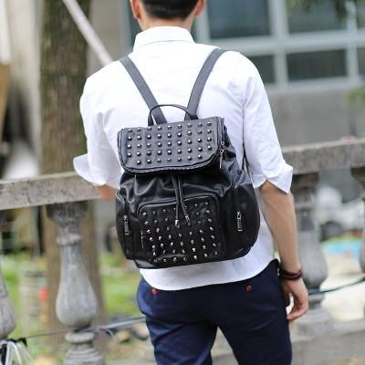 英倫情侶鉚釘雙肩包男士背包 PU 皮包潮流學生書包男包書包肩背包側背包公事包男商務包男生包