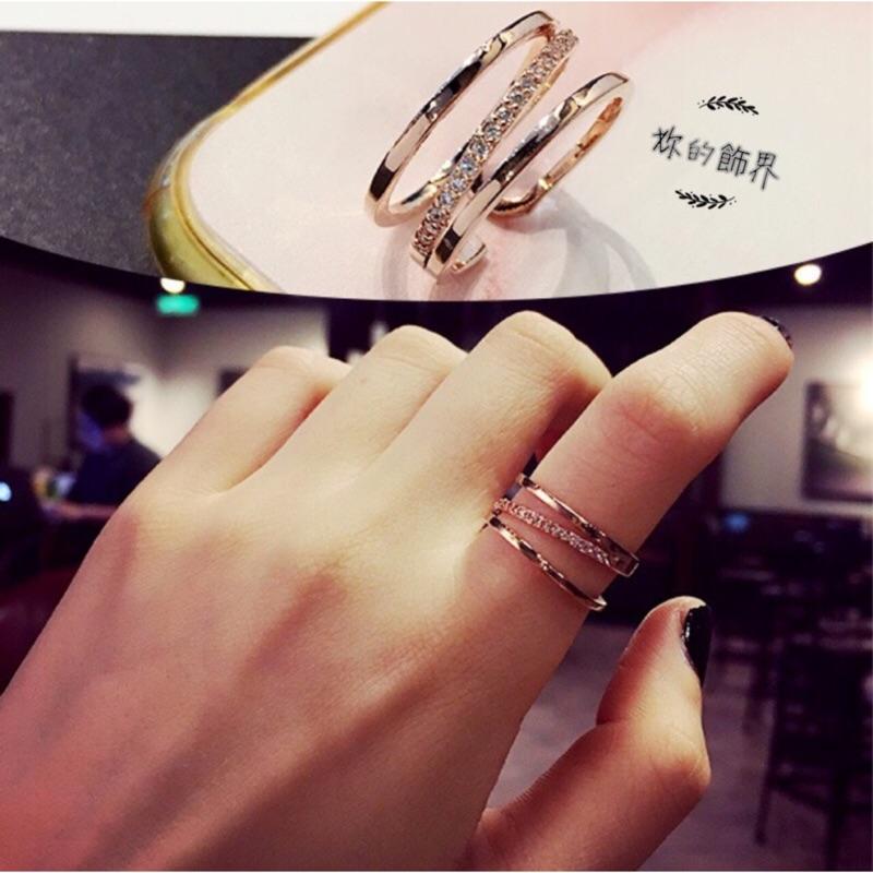 BD 韓風簡約三線條百搭 戒指