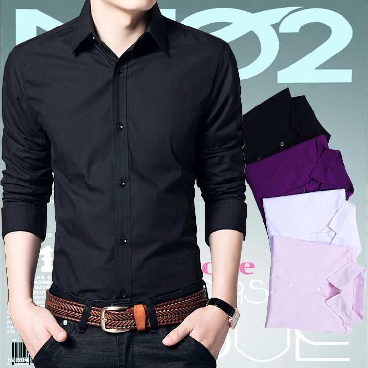 襯衫男士長袖修身 白色商務 純色免燙襯衣青年黑色寸衫