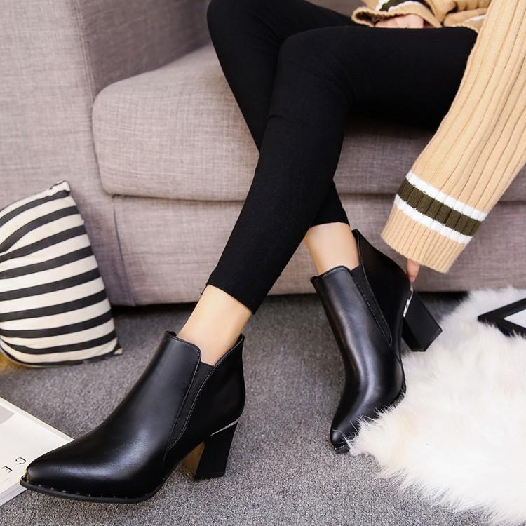 ~ 店~2016 秋 短靴女單鞋馬丁靴女高跟鞋粗跟尖頭英倫及踝裸靴子