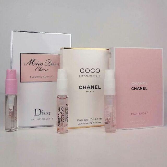 三款一組Dior 粉甜心chanel 白coco chanel 粉邂逅2ml 試管香水隨身