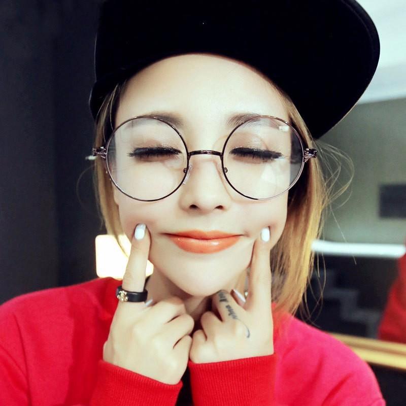 男女圓形墨鏡復古金屬眼鏡框圓光平光鏡