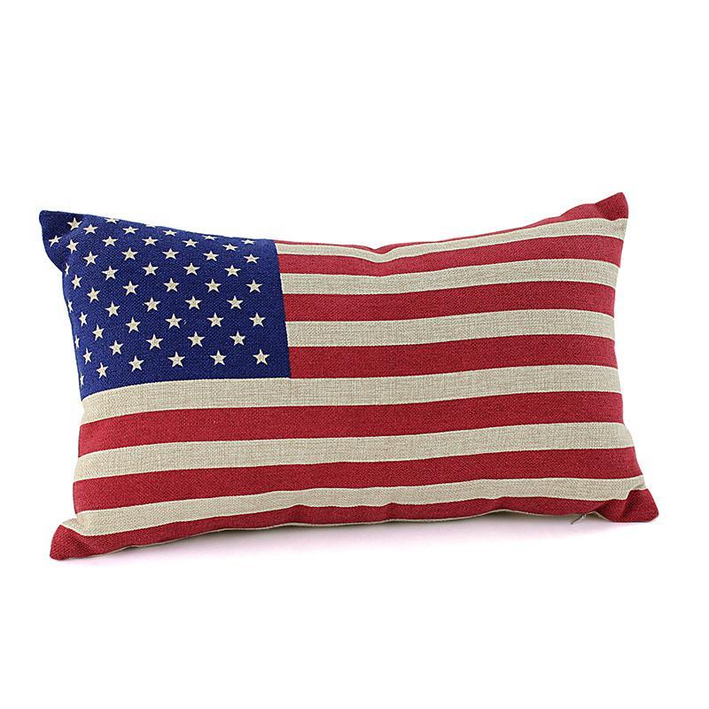 ~工廠直營~思得登.美式星星印花棉麻抱枕布套含枕心