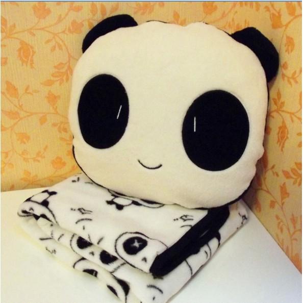 推廣價,活動月底結束,喜歡就別猶豫了哦可愛熊貓空調毯空調被靠墊被法蘭絨抱枕毯