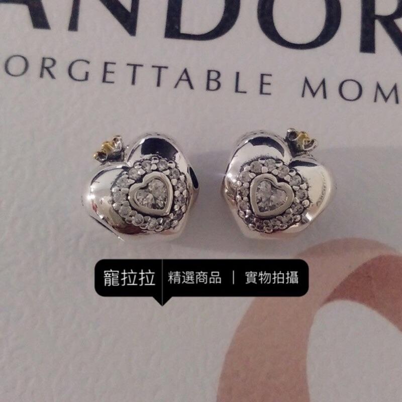 PANDORA 潘朵拉925 銀2015 14K 金版本金鑲石公主心