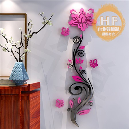 牆貼薔薇花亞克力3d 立體墻貼畫臥室客廳玄關溫馨 家居背景墻壁裝飾