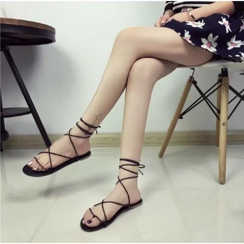 月銷冠軍 夏 休閒一字拖平底綁帶涼鞋羅馬露趾甜美綁帶鞋