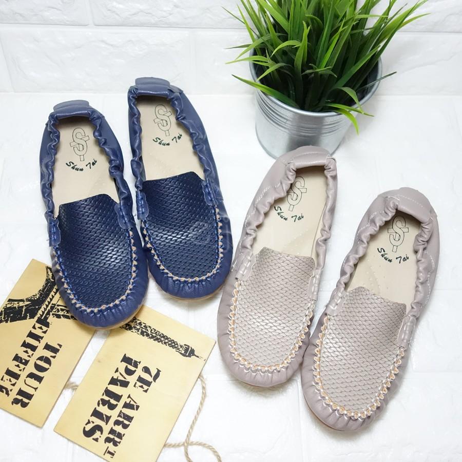 MIT 編織紋皮質鬆緊帶彈性軟底休閒平底低跟楔型坡跟懶人鞋