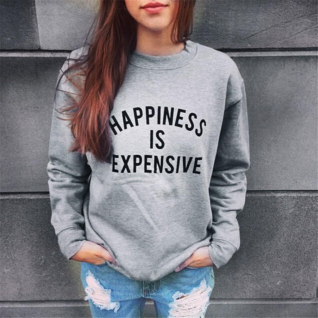 韓系❤~ !~街拍HAPPINESS IS EXPENSIVE 英文圖案大學T 衫情侶T
