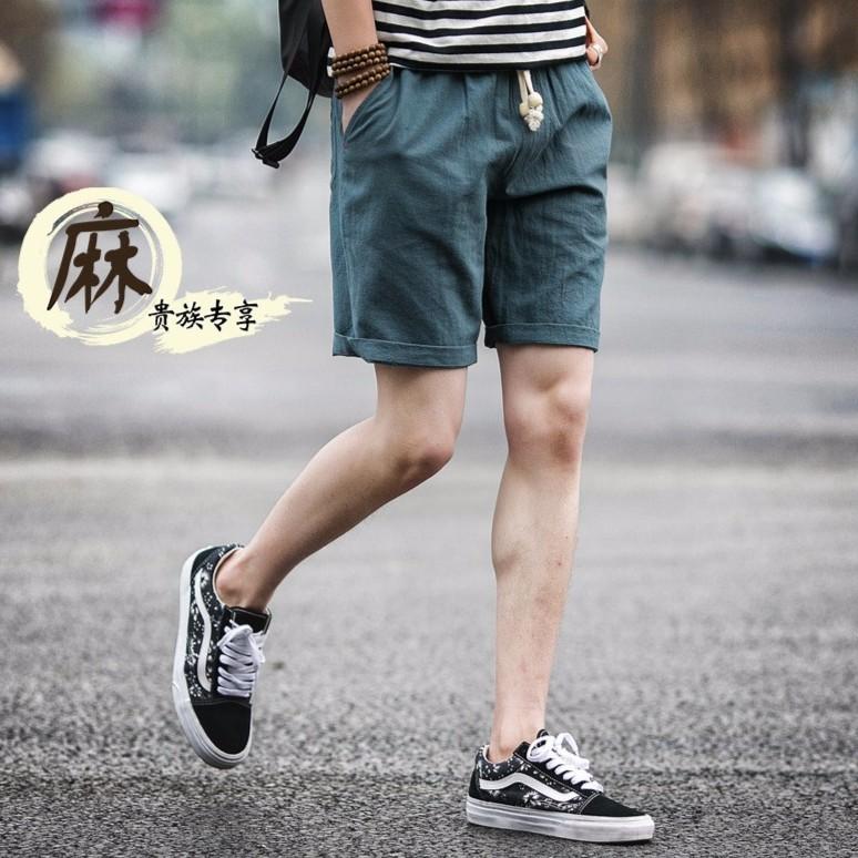 男短褲2017 春夏男 褲男裝棉麻中褲 格子亞麻男褲修身潮男士短褲