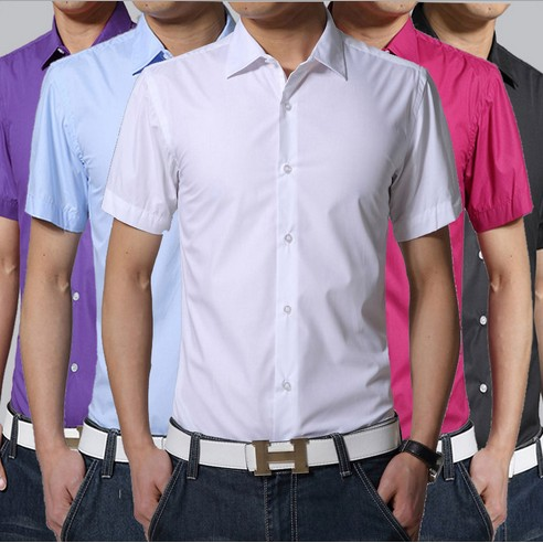 ⭐️ 短袖襯衫男2017 百搭修身 短袖襯衫純色薄款男商務短袖襯衫