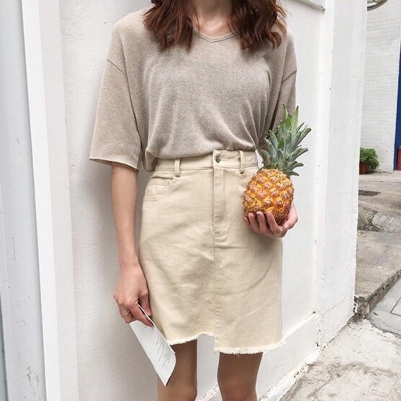 ~早·衣服~五月女人節簡約 不對稱韓國 高腰顯瘦純色牛仔裙包臀裙(預)