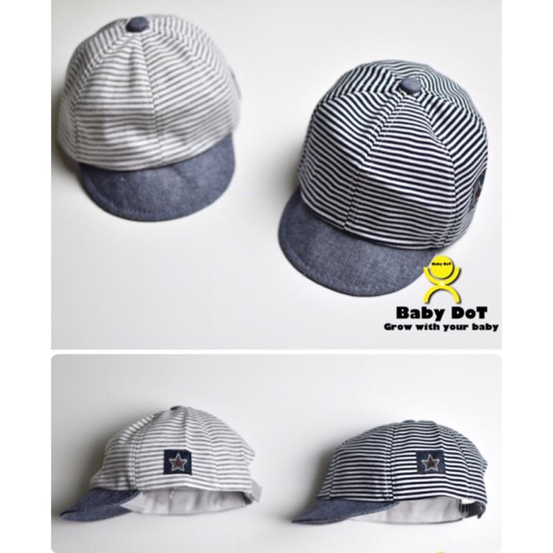 ✨百搭兒童帽條紋星星帽牛仔鴨舌帽 條紋深藍淺藍純棉棒球帽男女寶條紋帽 款