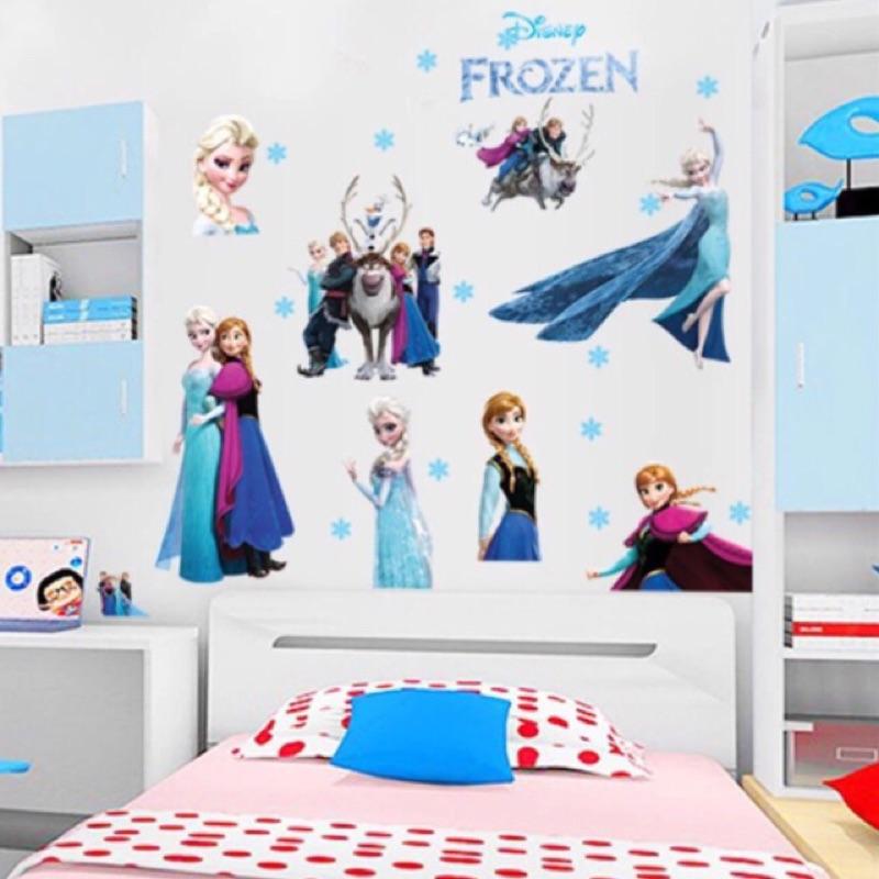 冰雪奇緣Frozen 艾莎安娜防水墻紙ELSA ANNA 兒童房衣櫥貼幼兒園可移除卡通牆貼