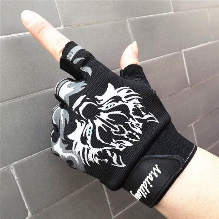 防滑薄款半指狼頭手套登山騎行 健身透氣露指手套