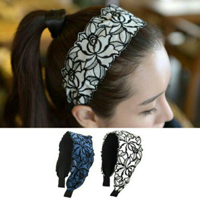 ╭~蕾兒0509 ~╮JE059 韓國髮飾甜美氣質蕾絲刺繡布藝寬箍頭箍髮帶髮圈髮飾品