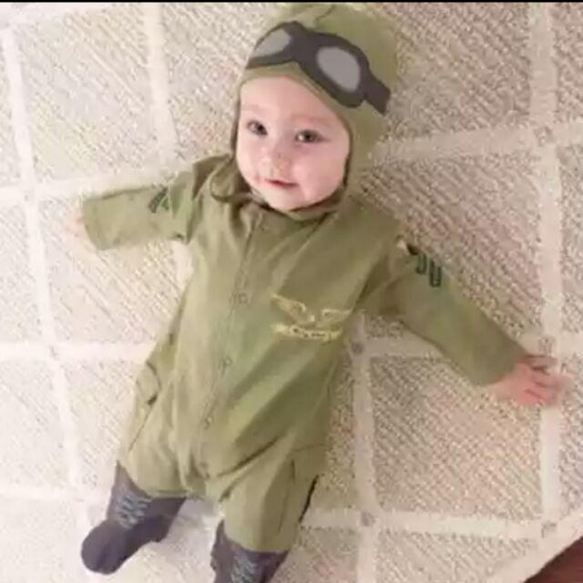 60 嬰幼兒哈衣連身衣春秋 男童飛航員長袖新生兒軍綠色包屁衣套裝~漾媽咪嬰幼兒用品~兔裝連