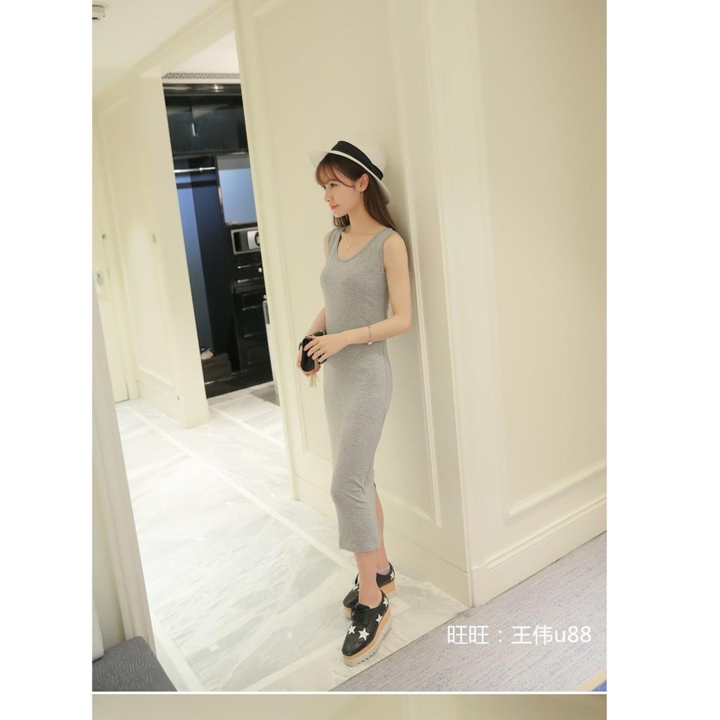 韓國2016 吊帶背心裙子女修身顯瘦黑色長裙無袖連衣裙夏
