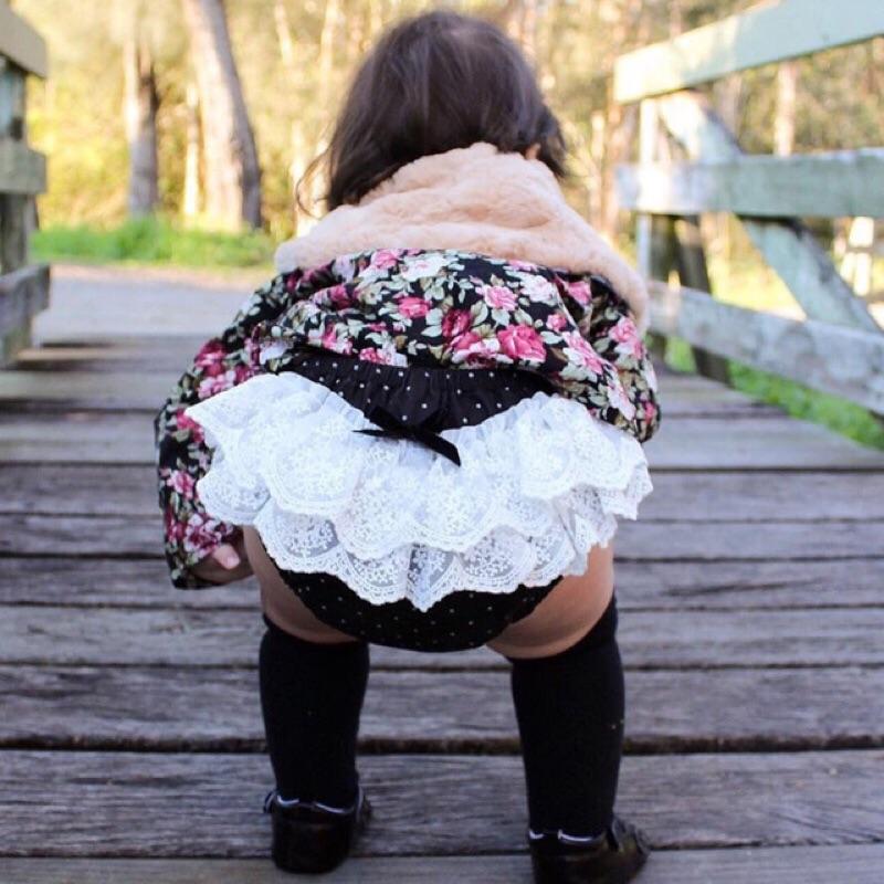 蓁誠 女童女寶兒童寶寶小童嬰幼兒波點圓點蝴蝶結層層蕾絲拼接鬆緊腰麵包褲屁屁褲三角褲短褲