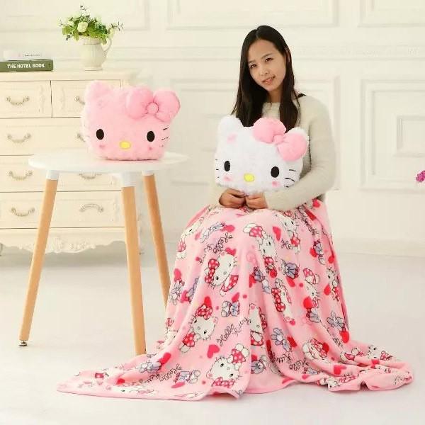 可愛櫻花美樂蒂抱枕毯辦公室珊瑚絨毯空調毯子兩用抱枕