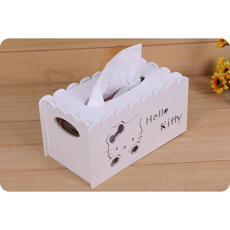 款✨HELLO KITTY 木塑板紙巾盒鏤空雕花紙巾抽桌面收納整理盒抽紙盒