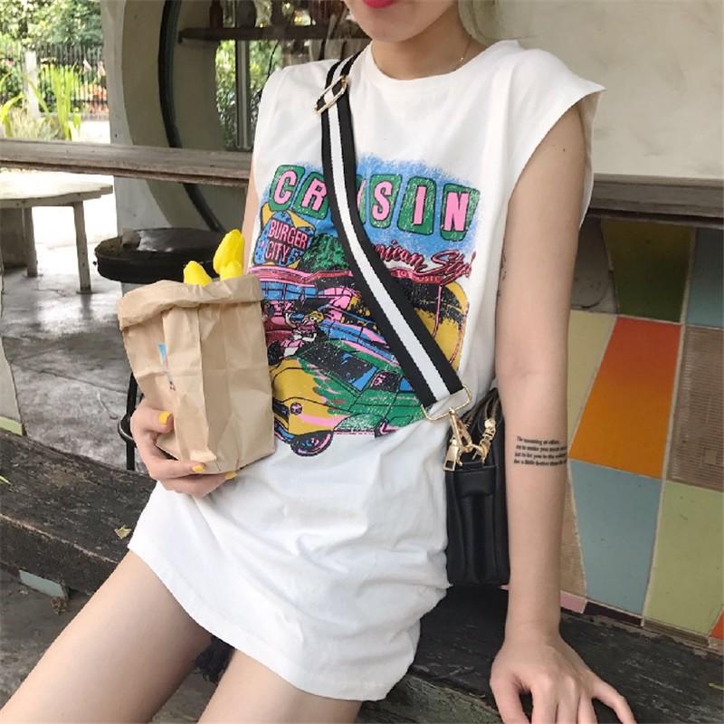 正韓女生衣著百搭街頭風大碼衣著寬鬆無袖汽車印花T 恤
