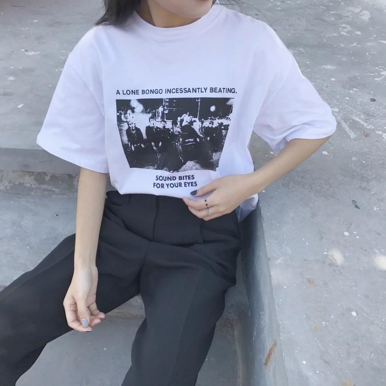 ~ ~ 價▲CC 短袖上衣▲實拍韓國官網 學院風 複古印花寬松圓領短袖T 恤衫