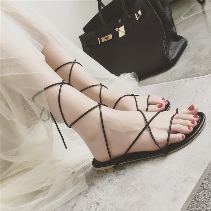 ~酷我 ~ 夾趾鞋平底鞋交叉綁帶平跟羅馬涼鞋女大小碼涼鞋沙灘鞋