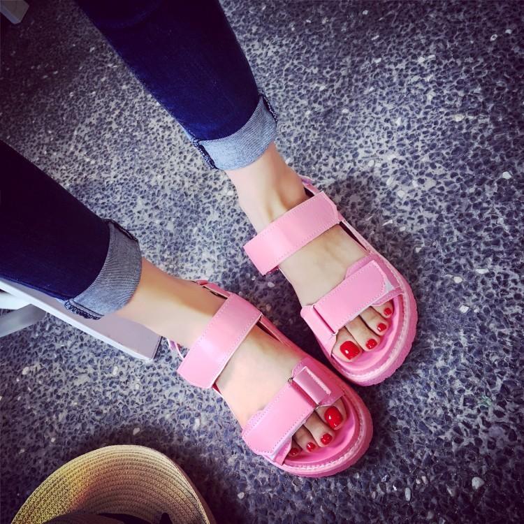 款魔鬼氈厚底鬆糕鞋新色粉色款喔