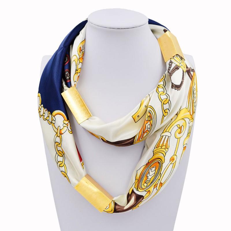 長圍巾項鍊鍍金包裹軟圍巾