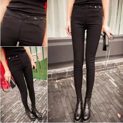 新春款女褲黑色打底褲女外穿彈力修身長褲 顯瘦小腳褲緊身鉛筆褲