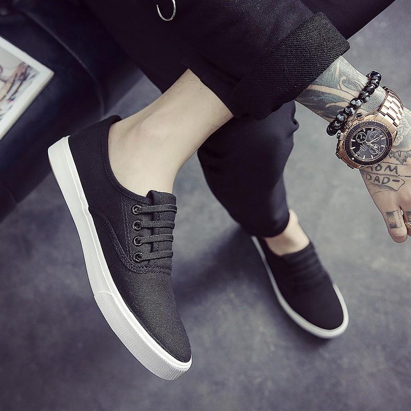 2017  帆布鞋男士一腳蹬懶人鞋低幫休閒單鞋百搭平跟學生男鞋