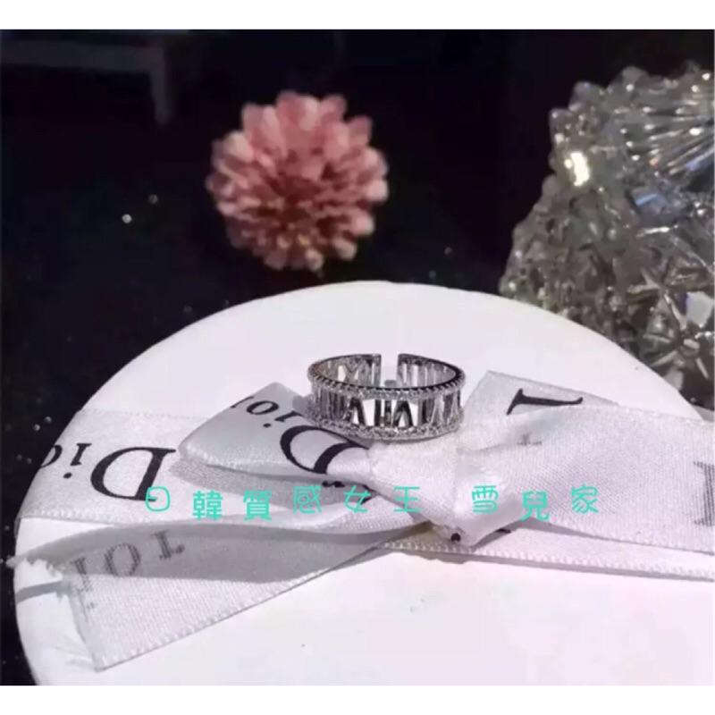 區925 純銀微鑲鑽羅馬數字戒指情人節  聖誕節 閨蜜百搭簡約 正韓不褪色不過敏