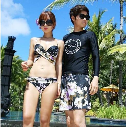 泳衣泳裝比基尼兒童泳裝連身泳裝蜜月 花朵氣質鋼圈集中情侶裝沙灘度假海邊溫泉游泳比基尼泳衣情