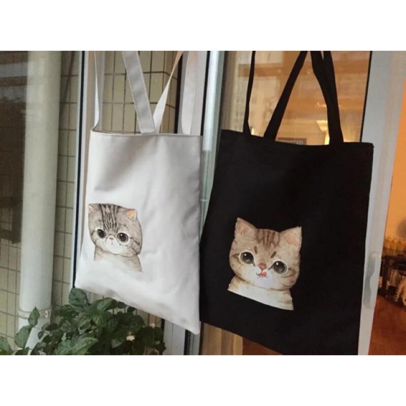 貓咪手提包防水帆布包拉鍊