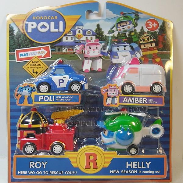 POLI 波力羅伊安寶赫利救援小英雄ROBOCAR POLI 4 款一套迴力車長6X 寬3