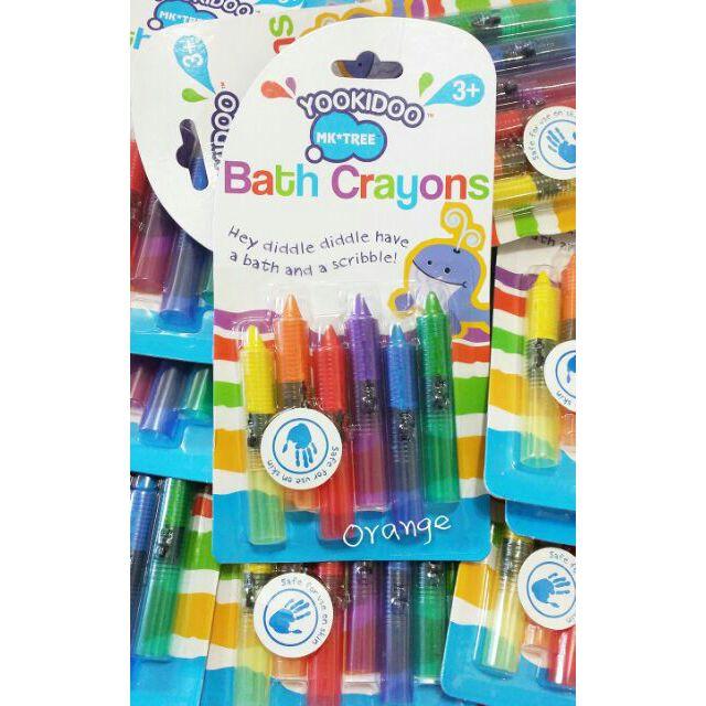 Bath Crayous 兒童安全畫筆可水洗食品色素無毒6 色蠟筆