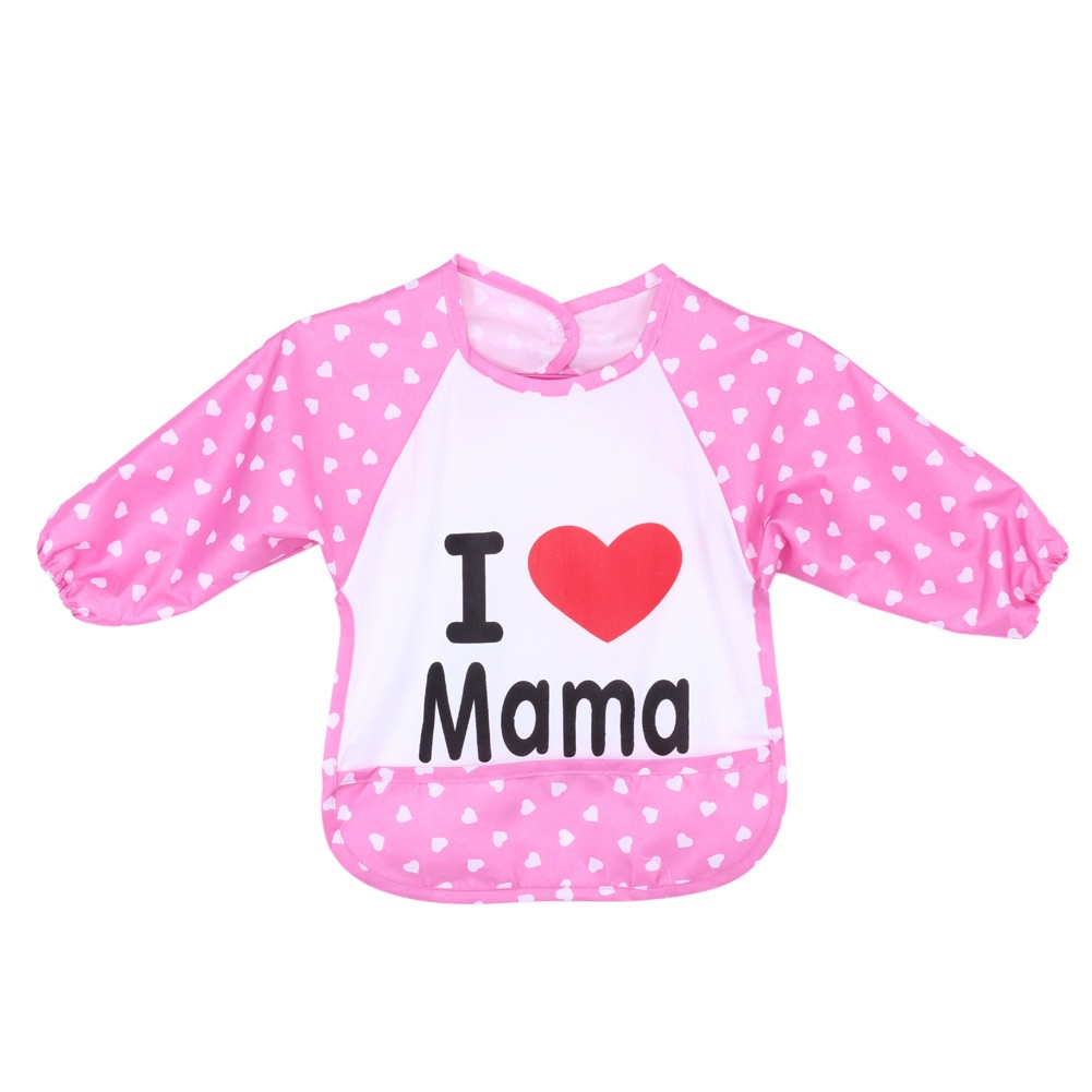 兒童防水長袖畫畫圍裙罩衣反穿衣(粉色)