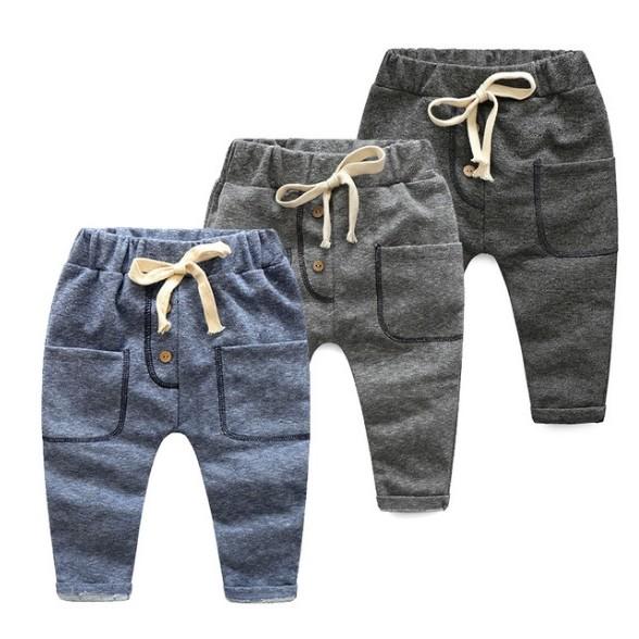 E1571 韓系男女童寶寶純色繫繩鬆緊帶休閒長褲 褲居家褲簡約休閒中性 MAMA 咪呀 衣