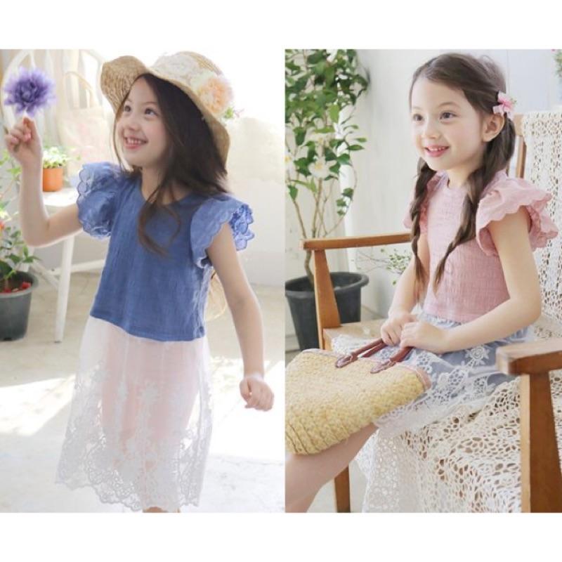韓風寶貝Q104 韓國女童繡花菲邊袖拼接蕾絲洋裝女童洋裝