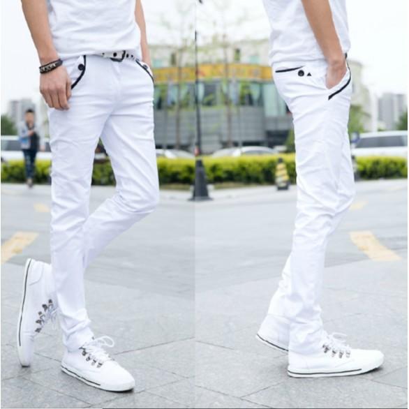 卡美拉衣櫃 青年男士彈性休閒褲修身款白色顯瘦長褲潮男裝小腳褲男生褲子15