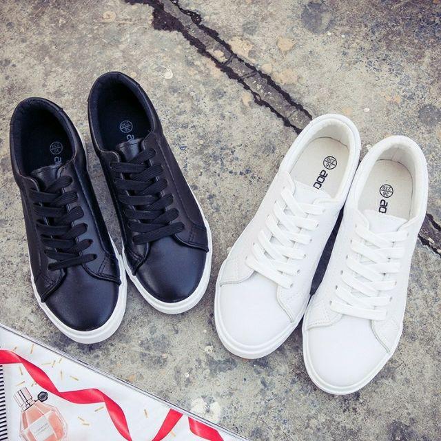 ✨ ✨PU 皮防潑水皮面帆布鞋 繫帶小白鞋休閒鞋懶人鞋團體鞋姊妹鞋百搭平底板鞋