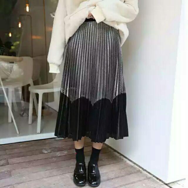 ~叮咚~開幕大 ◤ 款◢超顯瘦鬆緊腰雙色金屬色拼接百褶裙百褶長裙