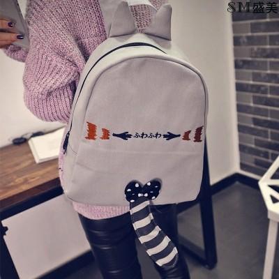 韓日系卡通雙肩包可愛 小浣熊背包少女學生書包帆布街頭旅行包書包肩背包後背包側背包防水後背包