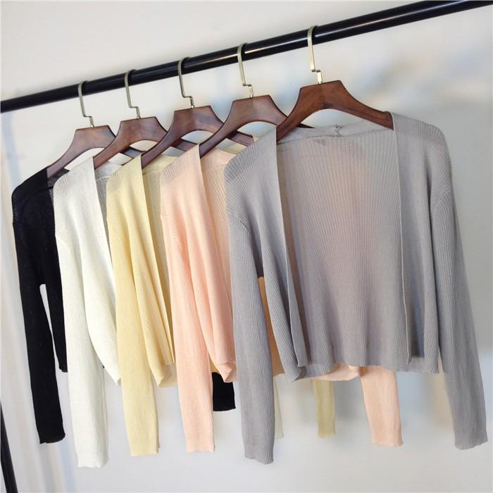 2017 春夏 修身長袖外搭百搭針織衫性感薄款無扣寬鬆防曬衣空調衫小外套